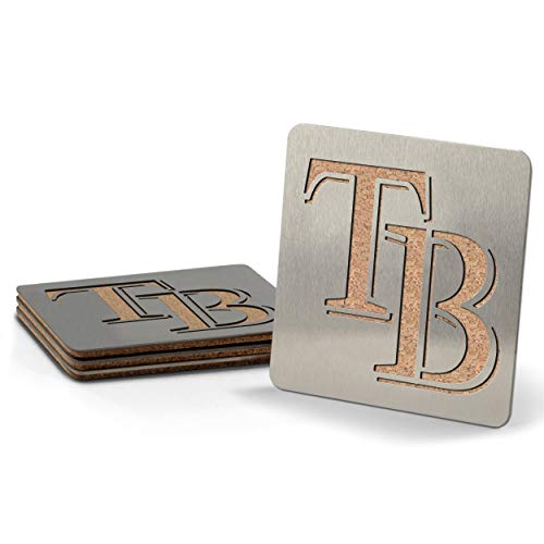 MLB Tampa Bay Rays Boasters, Heavy Duty Stainless Steel Coasters, Set of 4 ()