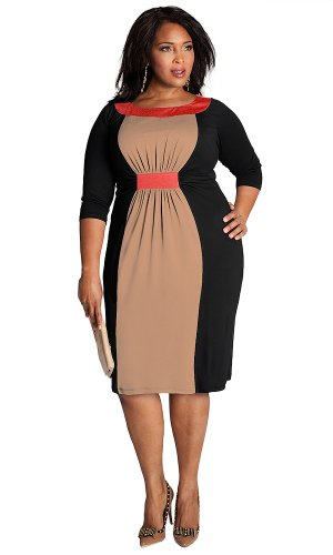 IGIGI Women's Plus Size Sophie Colorblock Dress in Black