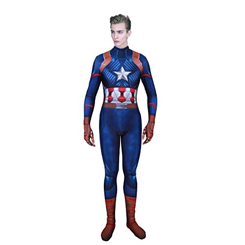 Captain America Costume,Captain America Suit Jumpsuit Cosplay for Men Boys Large -