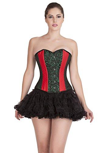 招待清めるドロップGreen Black Brocade Red Leather Goth Burlesque Overbust Tutu Skirt Corset Dress
