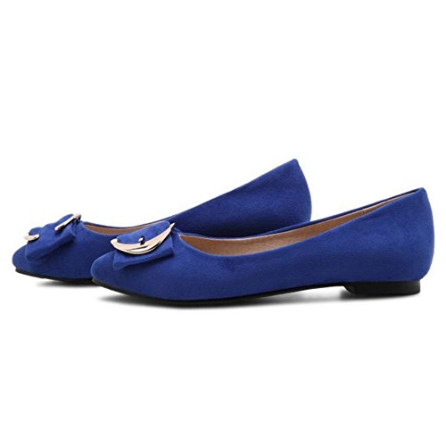 Plus for Ladies Suede Size Faux Blue Available Office With Onewus Shoes Flats g8xCSS