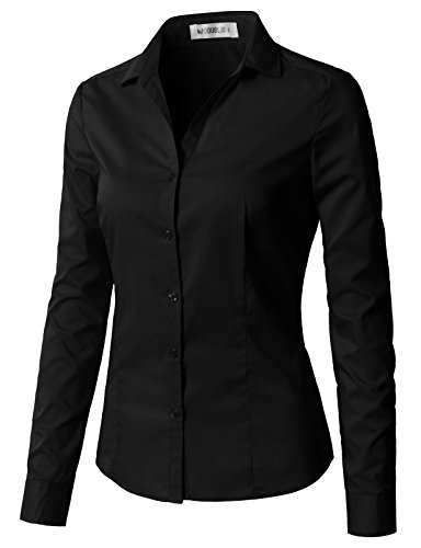 CLOVERY Women's Wrinkle-Free Long-Sleeve Slim Fit Button Down Shirt Black M