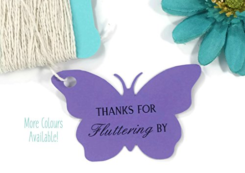 Butterfly Tags - Purple Butterfly Shaped Gift Tags - Thanks for Fluttering By (Set of 20)