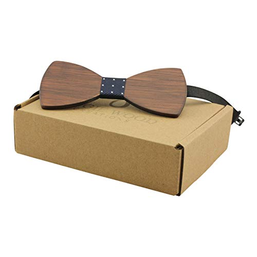 Large Round Red Sandalwood Bow Tie with Dotted Blue Centre - Adult Size
