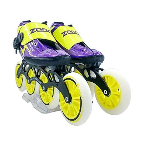 やろうる瞳ailj スピードスケート靴4 * 120MM調整可能なインラインスケート、ストレートスケート靴(3色) (色 : イエロー いえろ゜, サイズ さいず : EU 40/US 7.5/UK 6.5/JP 25cm)