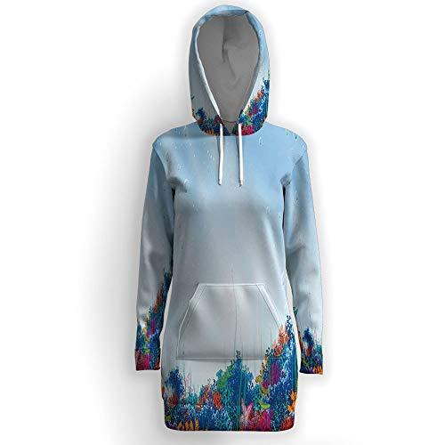 iPrint Long Sleeves Pocket Long-Line Sweatshirt,Underwater