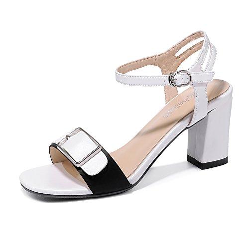KJJDE Mujer Sandalias De Cuña Verano JZTC-8985 Hebilla De Metal De Moda Sandalias Y Chanclas 8CM White