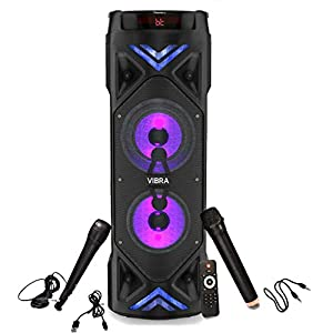 Tronica Dual 6.5″ Thunder Vibra Party Speaker with Two Karoke mics & Vivid Light Effects – Supports Bluetooth/USB/SD Card/FM & Mobile/pc/Laptop or Any Given aux Source (6 Hours Non Stop Play Back)