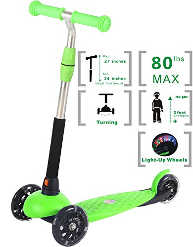 (Voyage Sports Kick Scooter for Kids Ages 2- 6 , Kids Scooter , 3 Wheel Scooter for Boys and Girls , Adjustable Height T-bar Handle (Green))