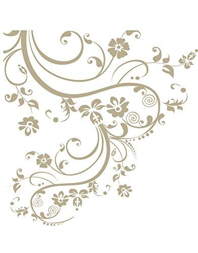 Stickerbrand Beige Swirl Flower Floral Wall Decal Design (100
