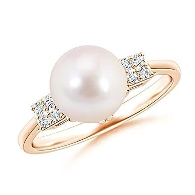 Angara Akoya Cultured Pearl Ring with Cluster Diamonds br1lf6IXd