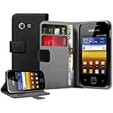 Black PU Leather Wallet Vertical Case for Samsung S5360 Galaxy Y - Flip Phone Cover + 2 Screen Protectors