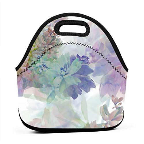 stel Watercolor Painting Portable Reusable Lunch Bag Waterproof Picnic Tote Insulated Cooler Zipper Box ()