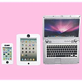 wj 3 Pack Dollhouse Accessories – Mini Laptop Tablet and Smart Phone Doll Accessories – Scene Computer Simulation…