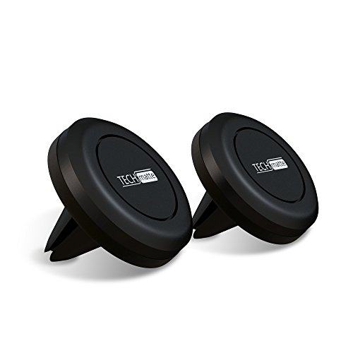 TechMatte Magnetic Car Phone Mount | Universal Air Vent Magnetic Mount Phone Holder | Compatible with Cell Phones and Mini Tablets (2-Pack, Black)