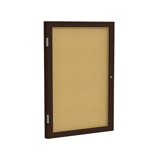Case of 6, 36''X36'' 1-Dr Wood Frame Walnut Finish Enclosed Bulletin Board - Natural Cork by Ghent