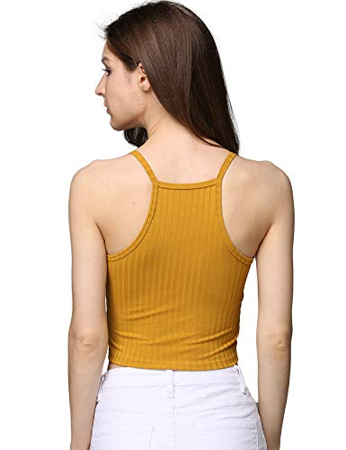 cunlin Crop Tops for Women Summer Camisole Sleeveless Ribbed Knit Racerback Cami Tank Top Yellow M