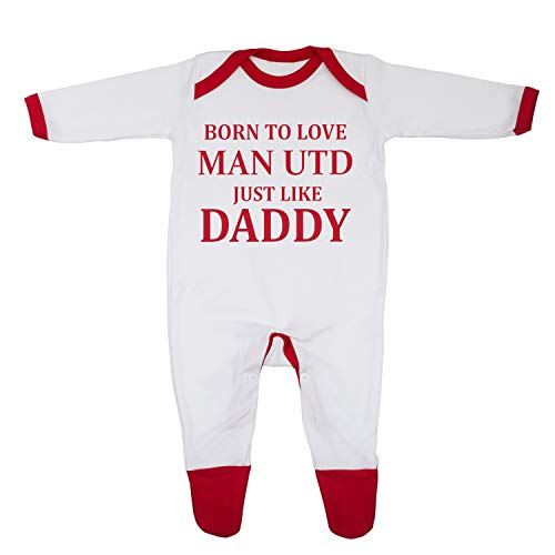 'Born To Love Man Utd Just Like Daddy' Baby Boy Girl Sleepsuit Designed and Printed in the UK Using 100% Fine Combed…