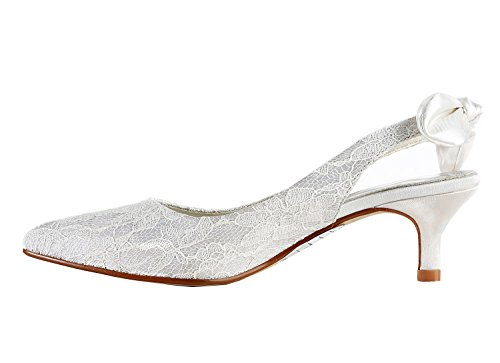 Minishion Womens Kitten Heel White Lace Comfort Evening Parting Bridal Wedding Dress Slingback Pumps US 8