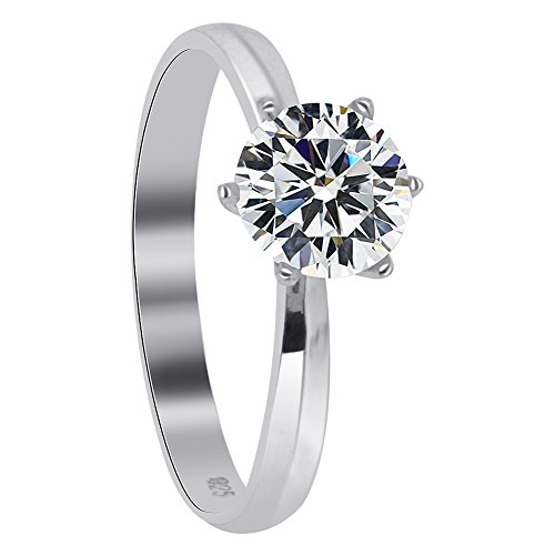 (925 Sterling Silver 6 Prong Cut CZ Solitaire Ring Size 10 Round Brilliant Cubic Zirconia)
