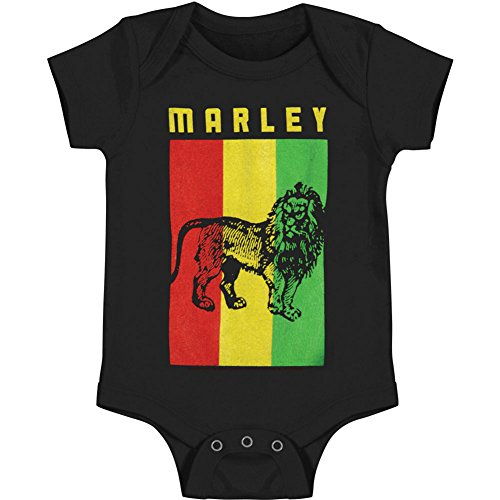 Lion Body - Bob Marley Baby Boys' Flag Lion Bodysuit 18 - 24 Months Black