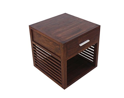 """NES Furniture NES Fine Handcrafted Furniture Solid Teak Wood Miley Bedside Table/Nightstand - 24"""", 24 inch - Handcrafted from the best Quality solid teak wood Perfect as a Nightstand, Bookcase, end table or kitchen cabinet Slight variations in wood grain and color may occur due to the handmade nature of this product from solid wood - bedroom-furniture, nightstands, bedroom - 41JCwCHBB0L -"""
