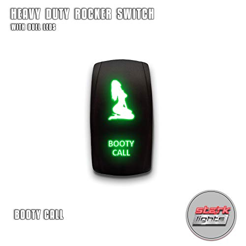 Call Rocker Switch - BOOTY CALL - Green - STARK 5-PIN Laser Etched LED Rocker Switch Dual Light - 20A 12V ON/OFF