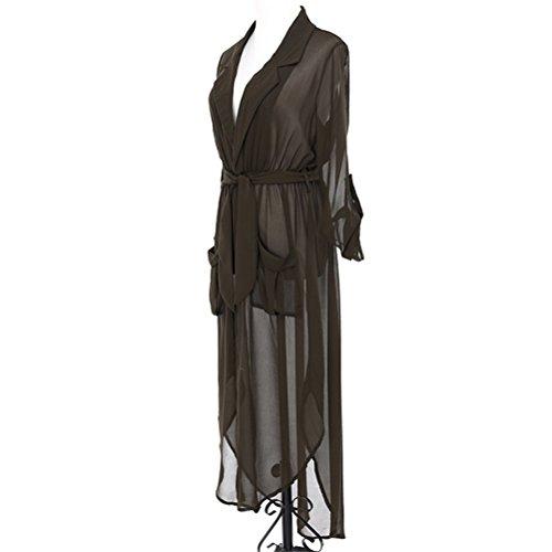 Sexy Robe Chemise À Manches Robe En Mousseline De Soie V-cou Chemisier Féminin Avec Sexy Tunique Verte De L'armée De La Ceinture Des Femmes Lingjiu