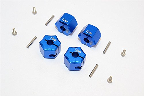 Aluminum Wheel Hex Adapter 14mmx12mm - 4Pcs Set Blue