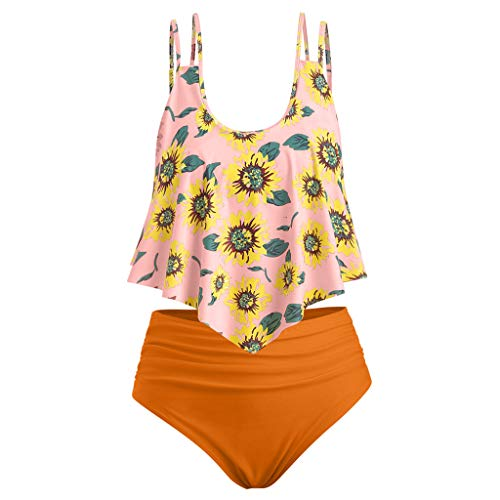 (Tankini Swimsuits for Women,ONLY TOP High Waisted Swimsuits Tummy Control Ruffled Top with Swim Bottom Bikini Sets)