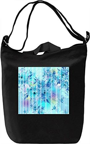 Blue Flowers Print Borsa Giornaliera Canvas Canvas Day Bag| 100% Premium Cotton Canvas| DTG Printing|