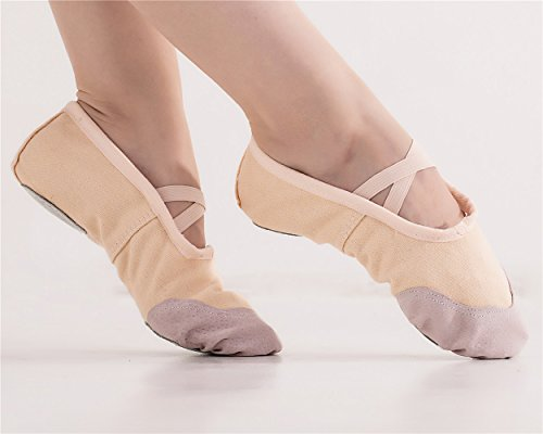missfiona Womens Canvas Ballet Dance Slippers With Split-Sole Gymnastics Belly Practice Shoes Nude zyy7DL