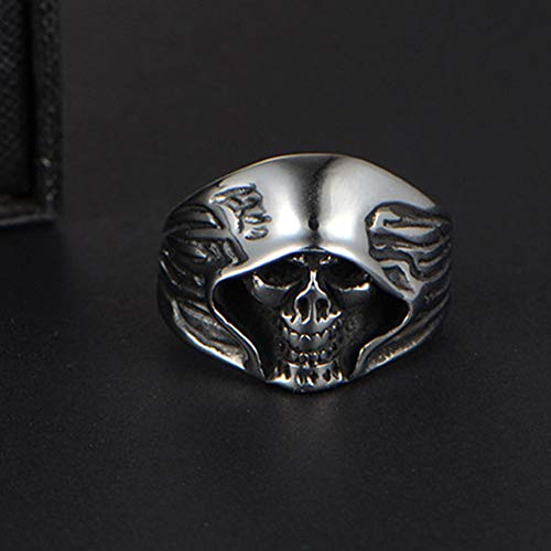 SAINTHERO Men's Large Vintage Biker Gothic Casted Death Grim Reaper Skull Stainless Steel Punk Ring Black Size 7 by MENSO (Image #1)
