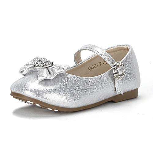 Dream Pairs ANGEL-22 Mary Jane Front Bow Heart Rhinestone Buckle Ballerina Flat (Toddler/ Little Girl) New, Silver, 4 M US Toddler