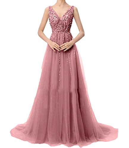 Festlichkleider Partykleider Dunkel Ausschnitt Promkleider Linie Charmant v A Abendkleider Damen Langes Ballkleider Rosa fA0wqS