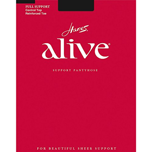 Hanes Alive Full Support Control Top Pantyhose, Size D, Color - Barely Black