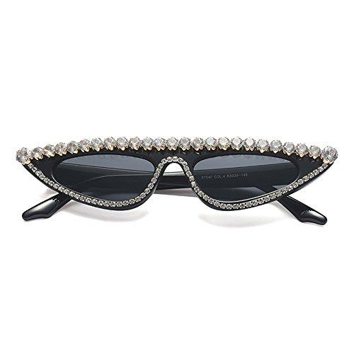 Sol TL UV400 Sunglasses Ojo de de Gato para de Gafas Verano de Negro Decoración Gafas Lujo Gato Ojo Las de Mujer de Rhinestones de la de la Mujeres con Fiesta rrCdqwg
