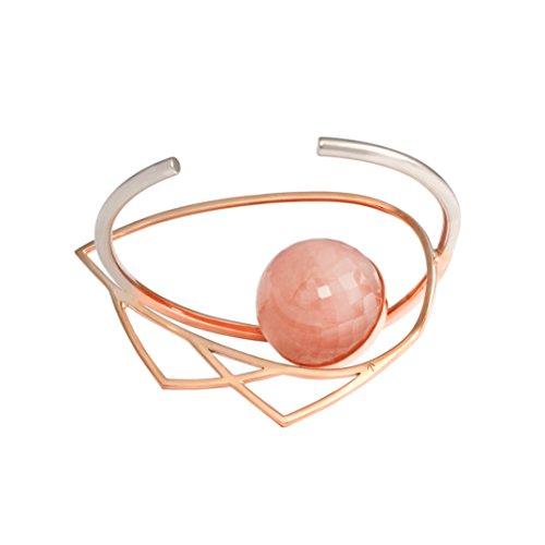 Leivankash Bracelet Manchette Plaqué Or Ronde Quartz Rose Femme