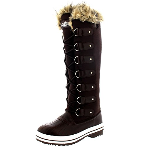 Womens Lace Up Rubber Sole Knee High Winter Snow Rain Shoe Boots - 8 - BRN39 YC0093