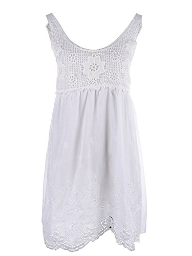 Crochet Net Bodice Empire Waist Eyelet Scallop Hem Dress ()