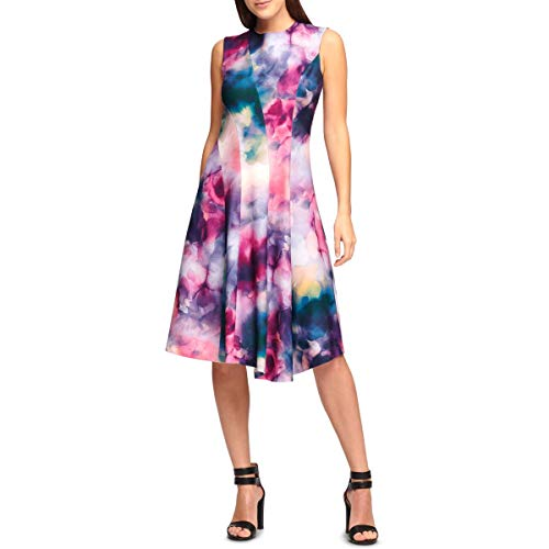 DKNY Womens Printed Asymmetric Scuba Dress Purple 2 (Dkny Dress Women)