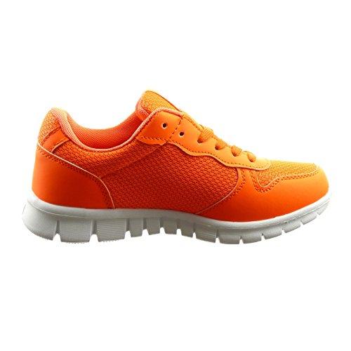 Sopily - Scarpe Da Donna Moda Sneaker Bi-materiale - Arancione