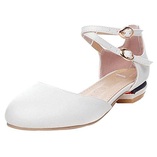 Sandales White Bout Femmes Ferme Plates TAOFFEN 9 O4IUqX