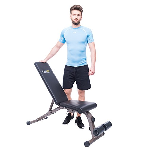 FEIERDUN Weight Bench – Exercise Workout Bench, Adjustable Gym Bench 5 Back Pad Positions from Flat/Incline/Decline with 3 Position Seat