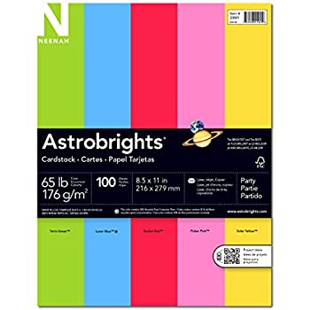 """Astrobrights Colored Cardstock, 8.5"""" x 11"""", 65 lb / 176 gsm, """"Party"""" 5-Color Assortment, 100 Sheets"""