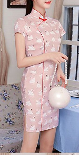 Cromoncent Femmes Debout Cygnes Col Impression Mince Lin Cheongsam Robe Rose Midi Qipao
