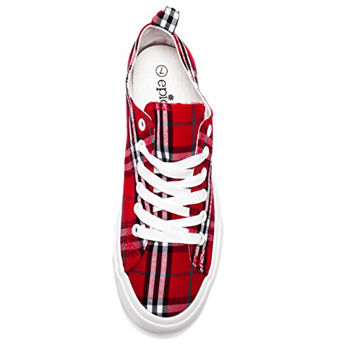 Fashion Vegan Leather Monochromatic Lace Up Colored Sneakers, Low Top Round Toe Shoes, Stylish and Comfortable (8, Red and Black Plaid) by Shelf Angel (Image #3)