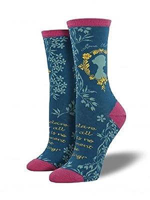 """Socksmith Womens' Novelty Crew Socks """"Jane Austen"""" - 1 pair"""