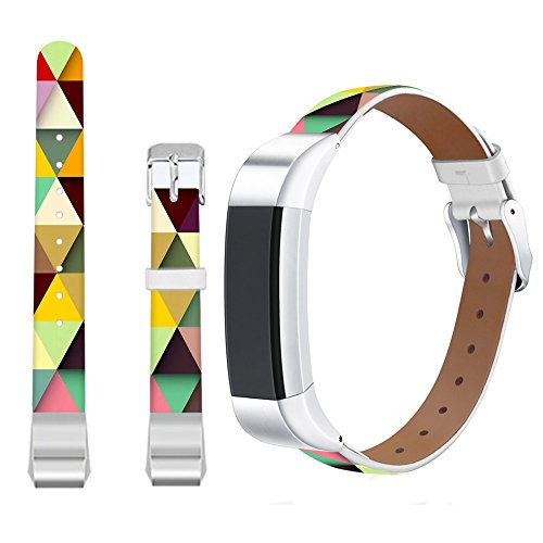 Jolook for Fitbit Alta Large Band Tiles,Jolook Replacement Leather Wristband Straps Bands for Fitbit Alta HR /for Fitbit Alta - Colorful Tiles Pattern