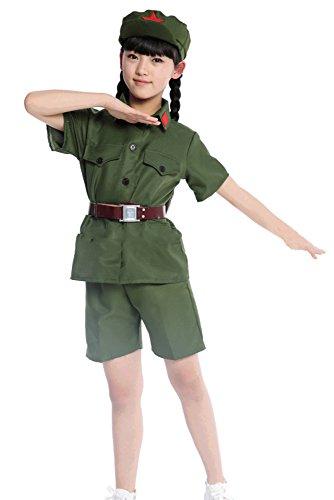KINDOYO Men Women Boys Girls Military Apparel, Cosplay Costume (Army Green (Short),UK 140 = Tag -